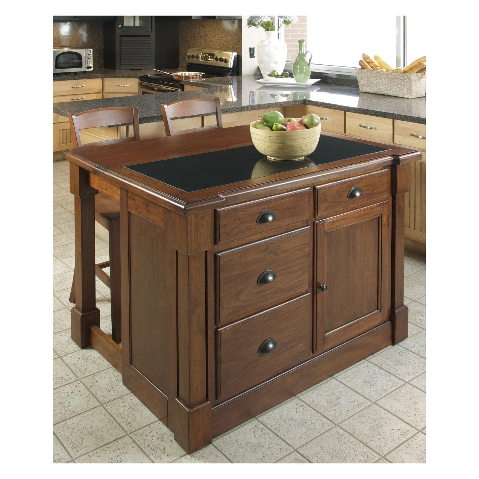 Home Styles Aspen Granite Top Kitchen Island With Two Stools And Drop Leaf 5520