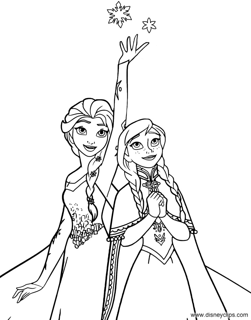 Coloring Page Of Anna And Elsa From Frozen Elsa Coloring Pages Frozen Coloring Frozen Coloring Pages