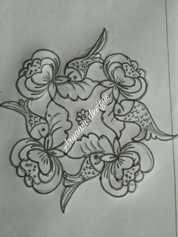 Flowers And Fishes Ammu Pinterest Rangoli Designs