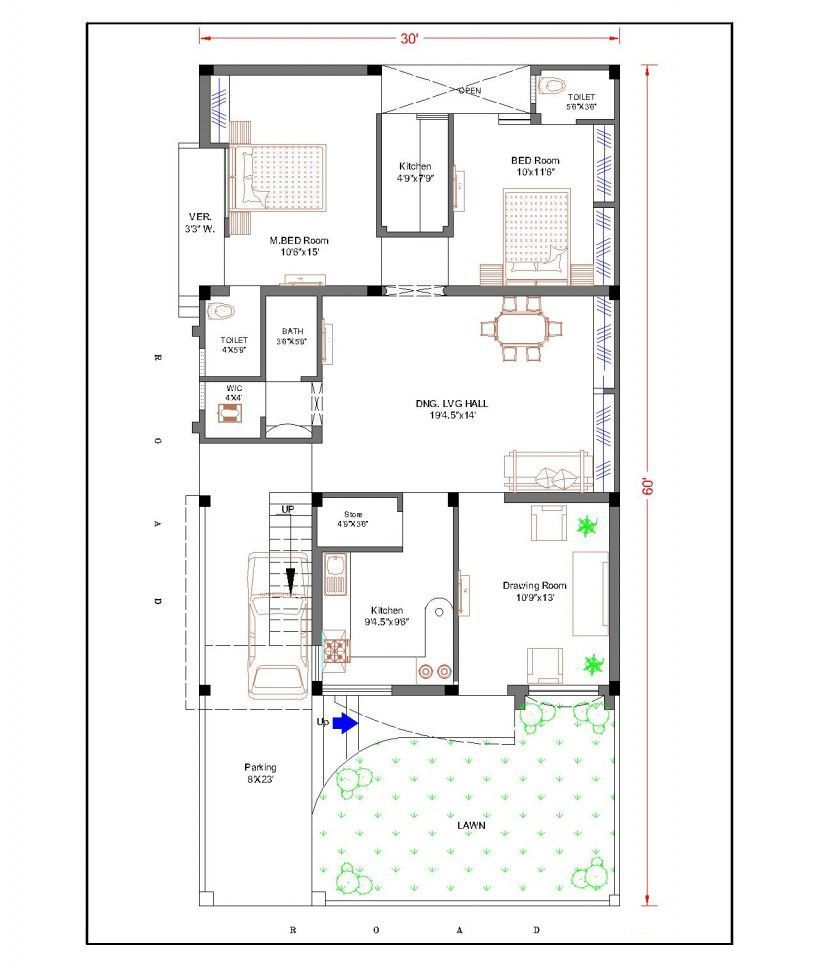 This Small Modern House 30x31 Has 3 Bedrooms With Its Two Storey Living Room The Plan Will Appeal To T Modern Villa Design Model House Plan Home Design Plans