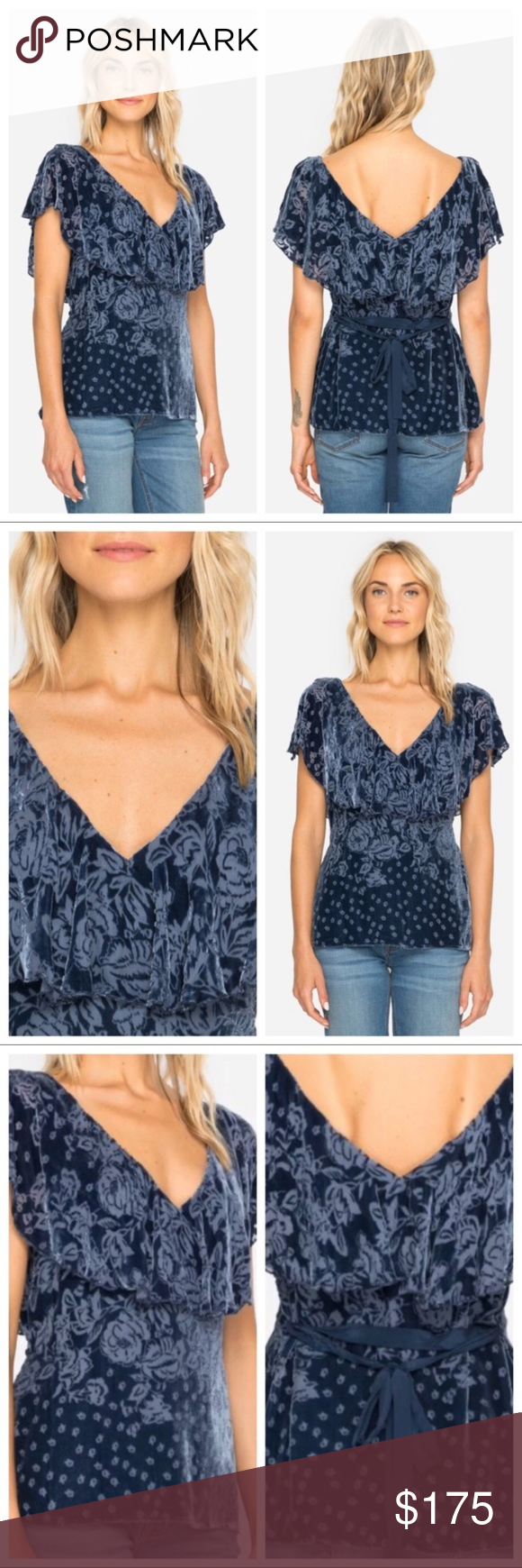 5a53c10e89f89 Johnny Was Floral Waves Belted Velvet V-Neck Top Brand new with tags still  attached Johnny Was Floral Waves Belted Velvet V-Neck Top.