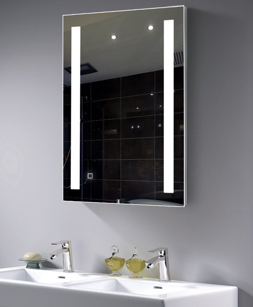 LED Dimmable Daywhite Wall Mounted Backlit Mirror, Bathroom Silvered  Lighted Vanity Mirror With Touch Button