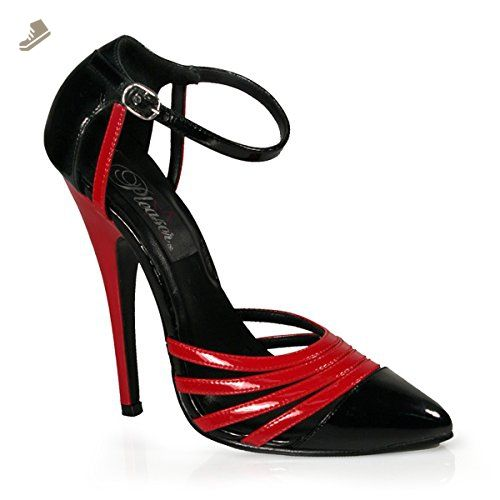 b37d82532af Womens Red Black Pumps 6 Inch Heels Sexy Strappy Shoes D'Orsay Ankle ...