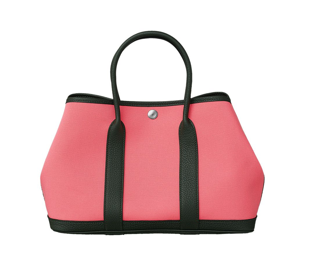 184d360bd31 Hermes - Garden Party bag in pink canvas with black leather trim ...