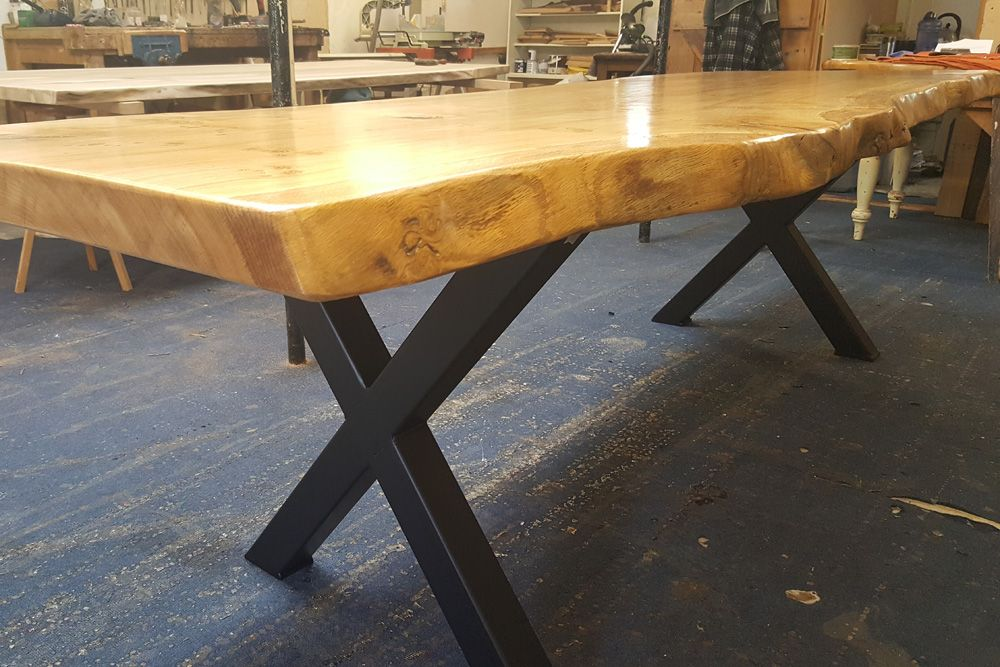 Handmade Live Edge Oak Slab Dining Table With Metal Legs Quercus Furniture In 2020 Slab Dining Tables Dining