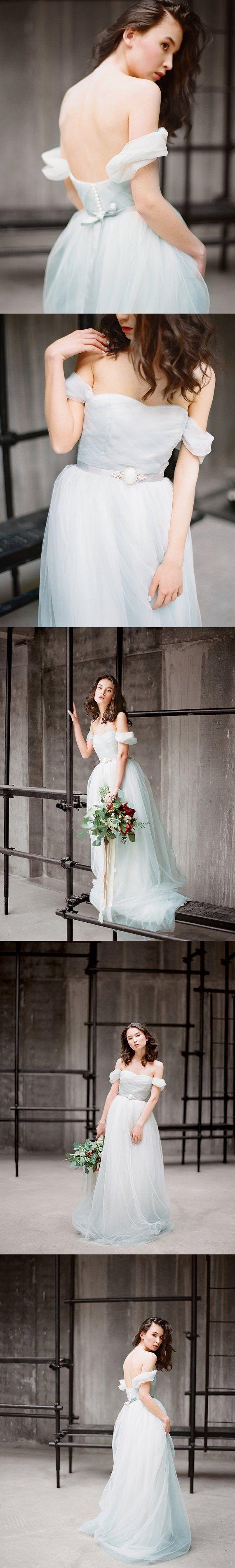 Cheap wedding dresses offtheshoulder short train ruffles simple