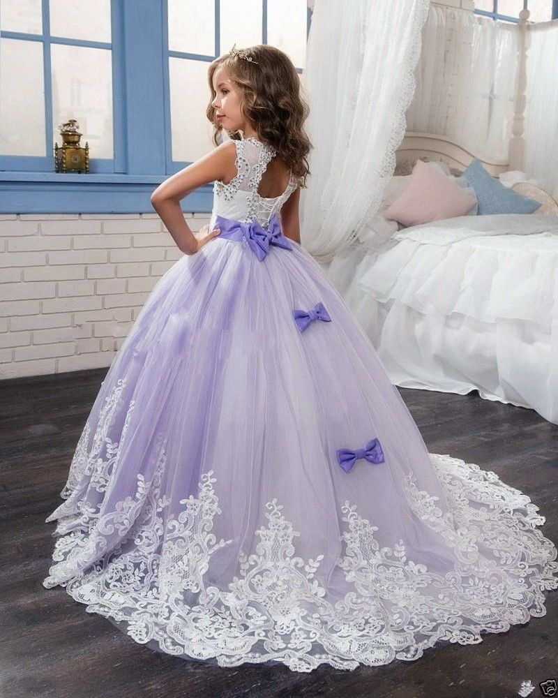 A-LINE Long Applique Communion Pageant Birthday Party Flower Princess Girl Dress