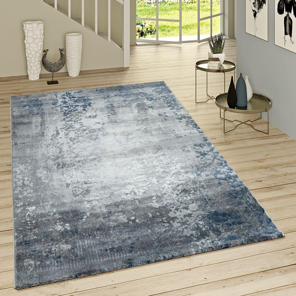 Kurzflor Teppich Modern Orientalisches Muster Grau Blau Teppich
