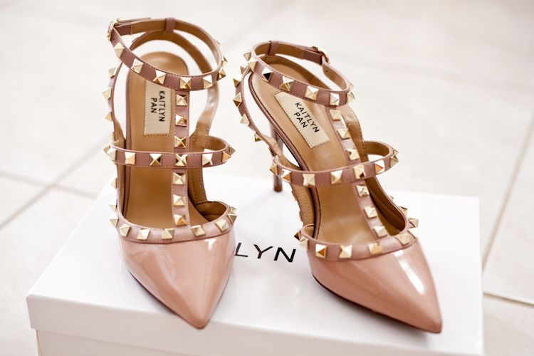 eec574c9a3c The Look for Less  Kaitlyn Pan Studded ( 109) Heel vs. Valentino Rockstud  ( 995)
