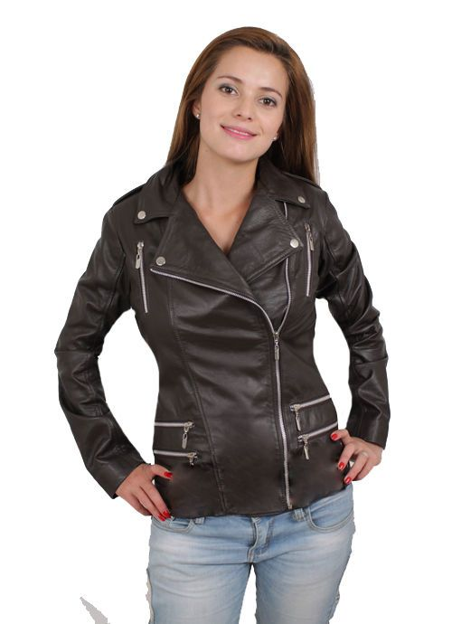 Women Biker Motorcycle Brown Leather Jacket Sz XS-3XL 12 Colors #ColombianCouture #Motorcycle