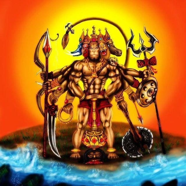 panchmukhi hanuman art by ajay vijay matale lordhanuman