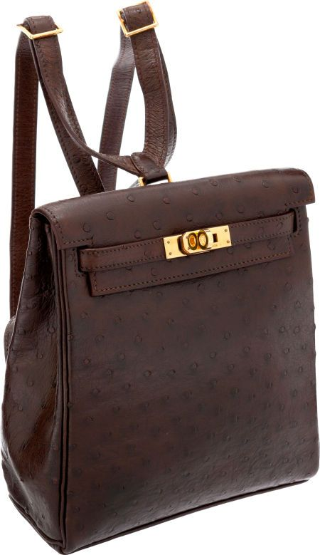 Hermes 20cm Marron Fonce Ostrich Kelly Ado Backpack with GoldHardware.   haluxury  heritageauction e1527265a90