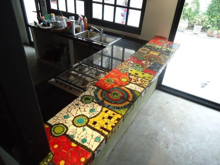 Mosaic kitchen counter benchtop home ideas pinterest for Cheap kitchen benchtop ideas