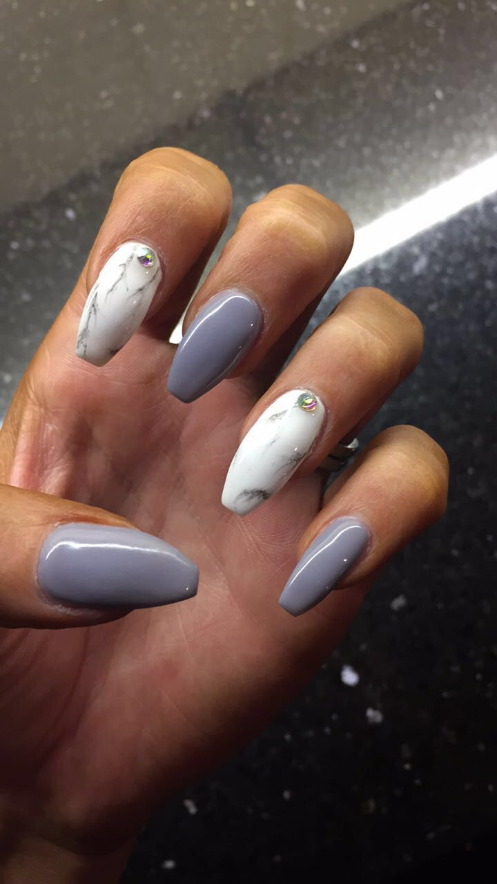 My Grey and marble coffin nails! #nailspo | Nails | Pinterest