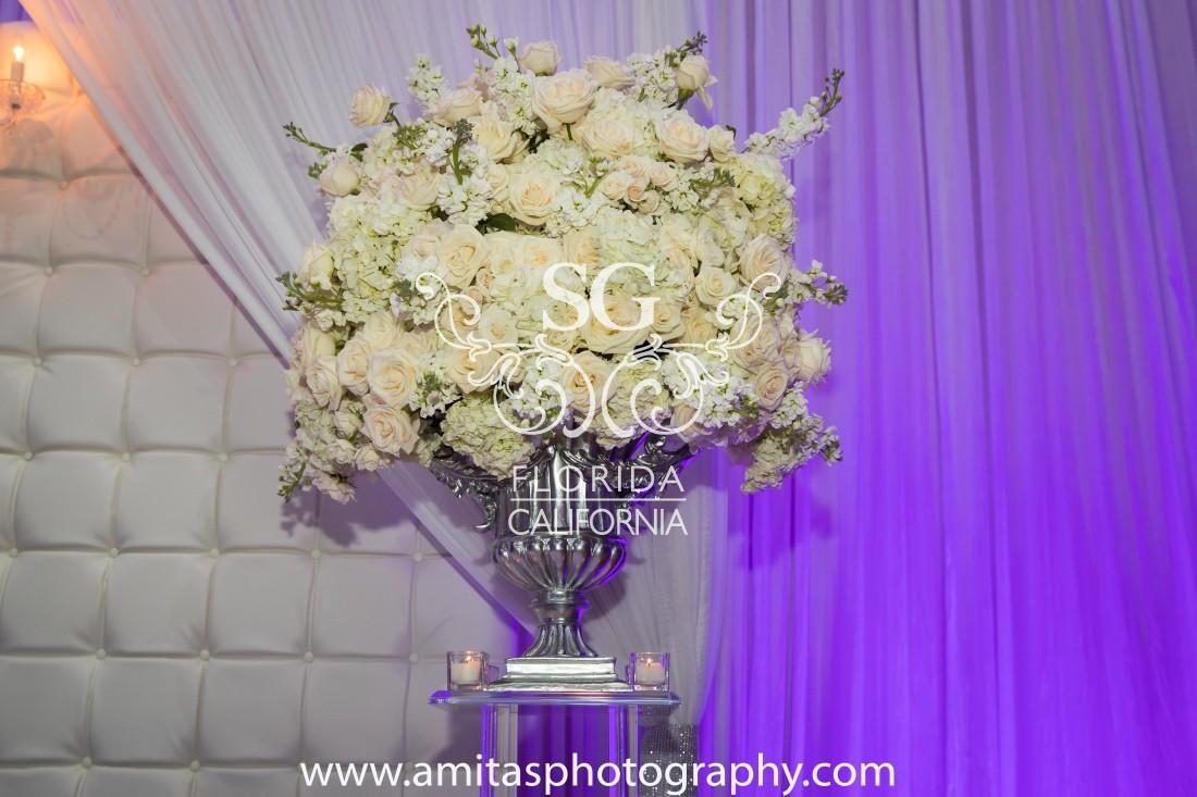 Suhaag Garden, Indian Weddings, Indian Wedding Decorators, Silver, White & Purple, Focal Point, Stage Seating, Floral, Antique Vase