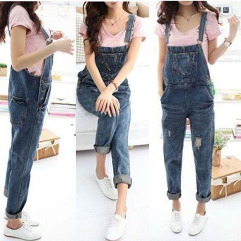 Damen Denim Jeans Overalls Latzhose Jumpsuits Pants Cargo Hosenträger Hose