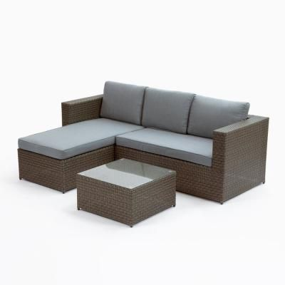 Hampton Bay Riley 3-Piece Metal Outdoor Sectional Set with ... on Riley 3 Piece Sectional Charleston id=49744