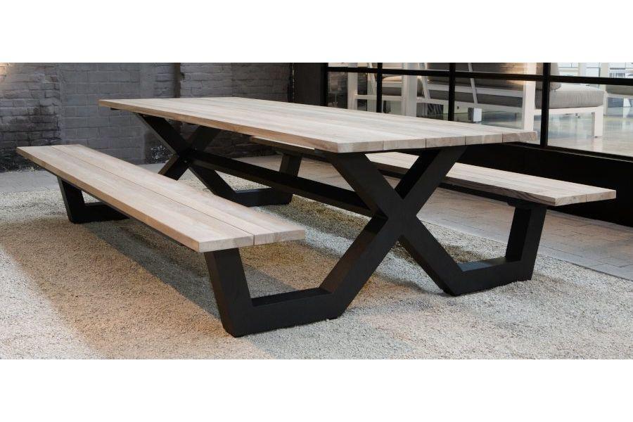 Table pique-nique avec bancs en teck massif et pieds en aluminium ...