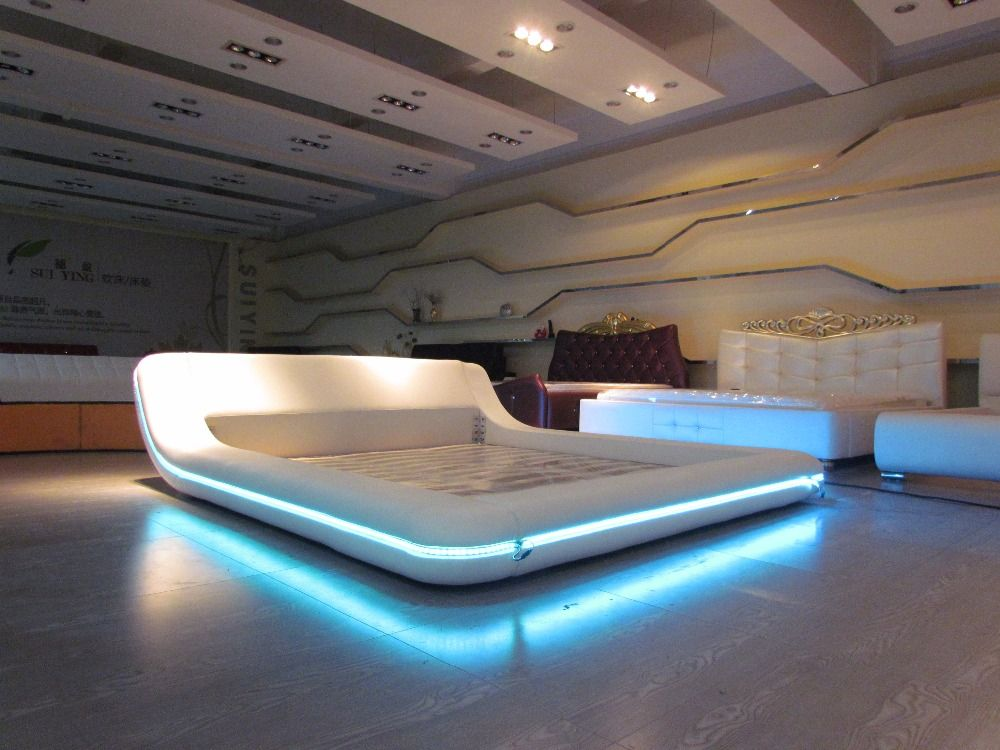 telecommande contemporain moderne en cuir led lit king size chambre meubles fabriques en chine