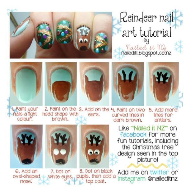 Reindeer nails nails pinterest reindeer nails and make up nailed it nz reindeer nail art tutorial prinsesfo Choice Image