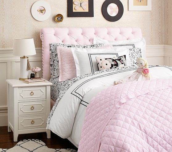 Chesterfield pottery barn kids headboard with white nightstand ...