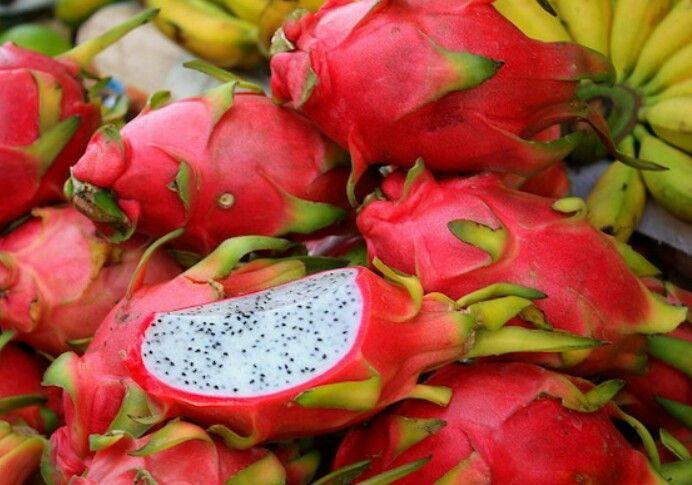 Pitaia ou Fruta-dragão, nativa do México e da América do Sul  e também muito cultivada na Ásia. Tem sabor lembrando o do kiwi.