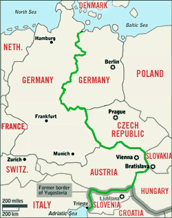 Iron Curtain Poland Germany Trieste Map