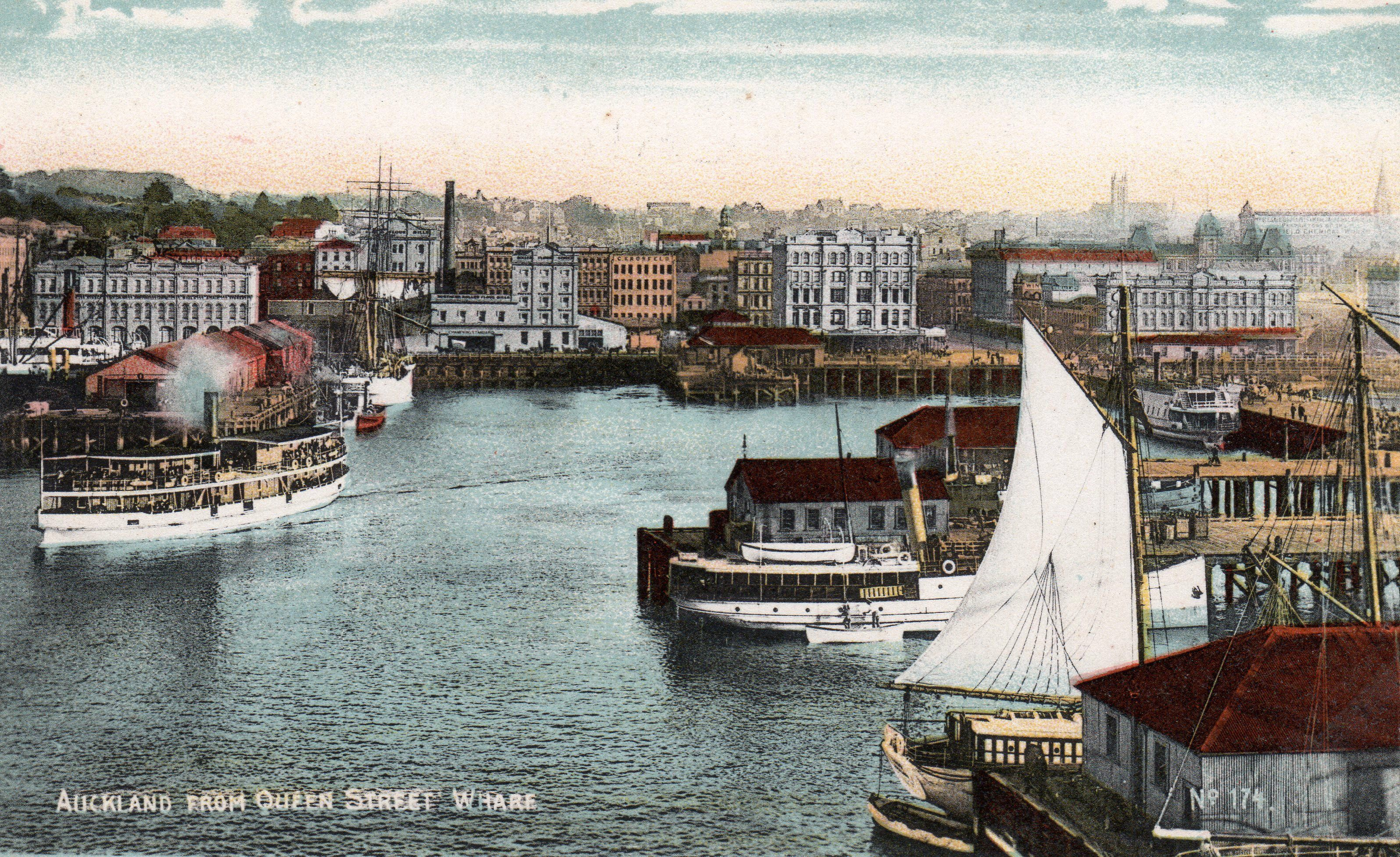 Auckland from Queen Street Wharf in about 1900. From a