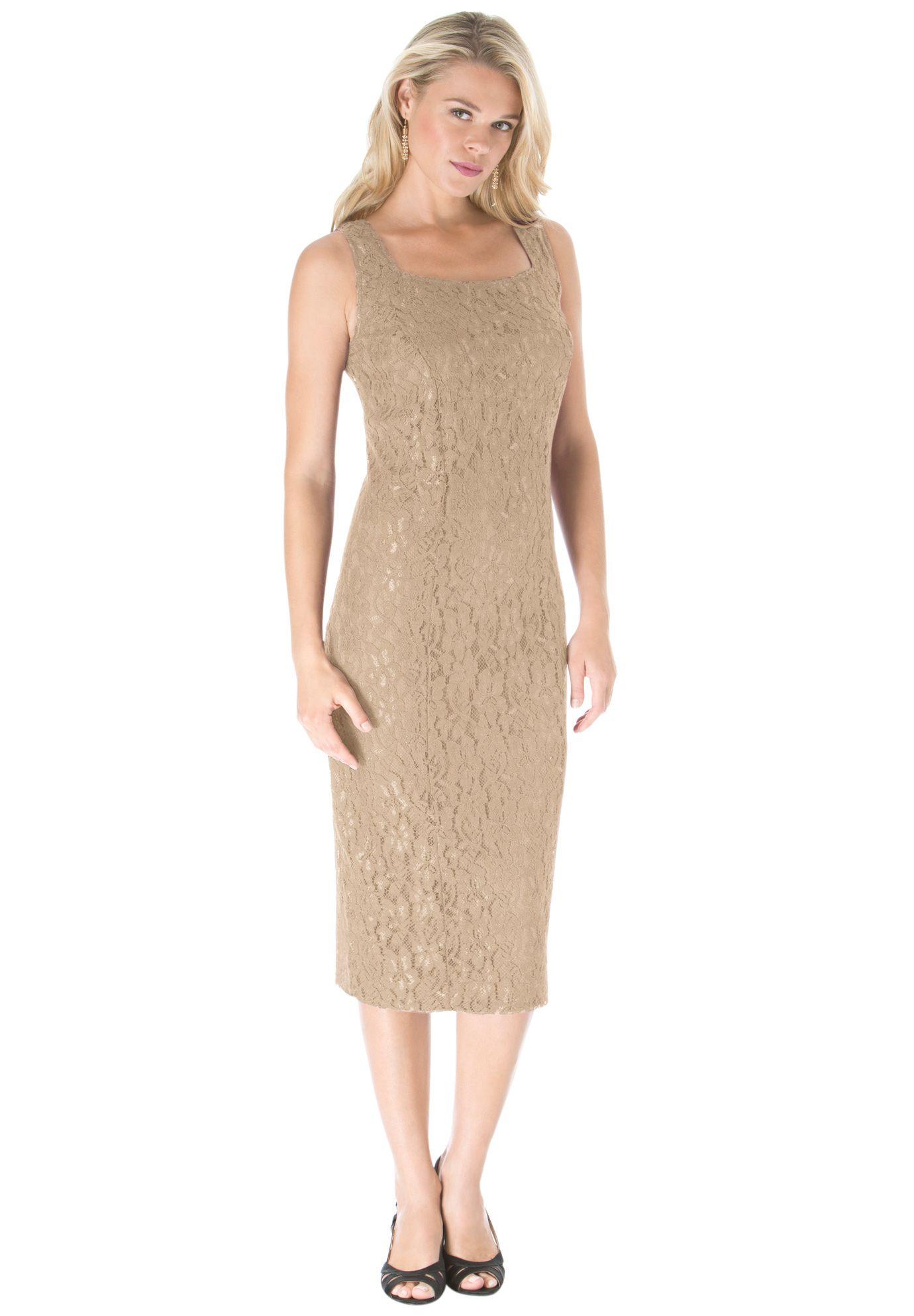 Lace Jacket Dress | Plus Size Evening Dresses | Roamans ...