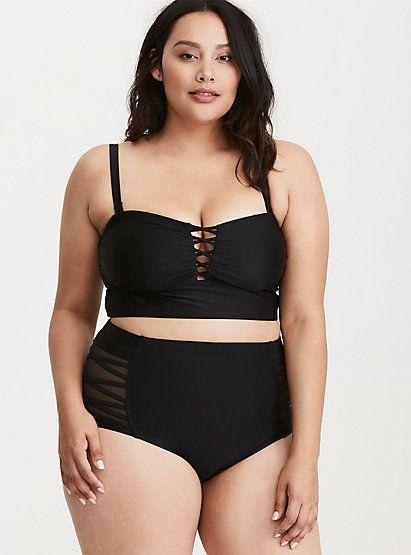 6972ede5fb6 Black Wireless Lattice Bikini Top | Swimwear | Bikinis, Bikini tops ...