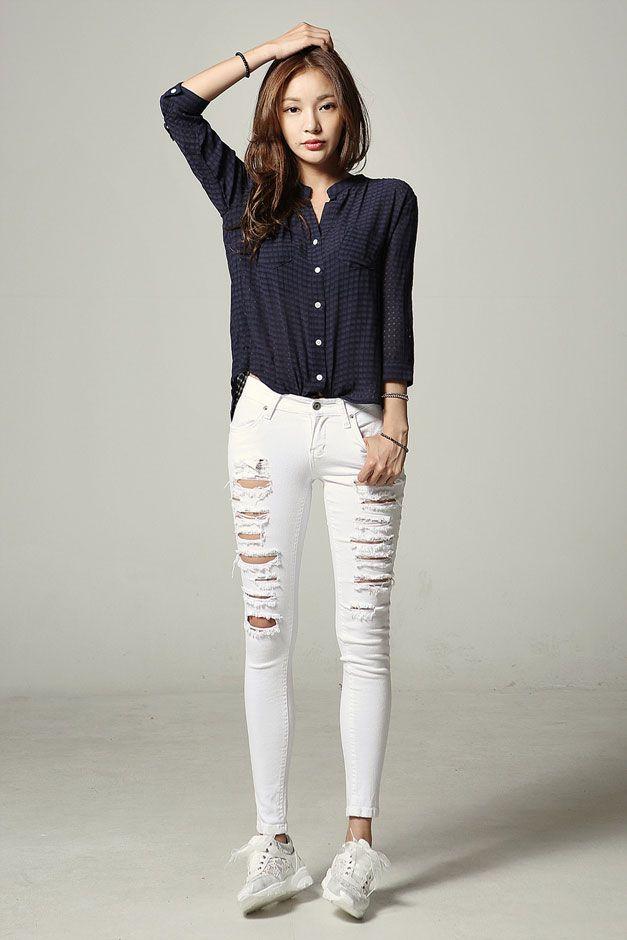 Checker Roll Up Sleeve Shirt Korean Fashion Korean