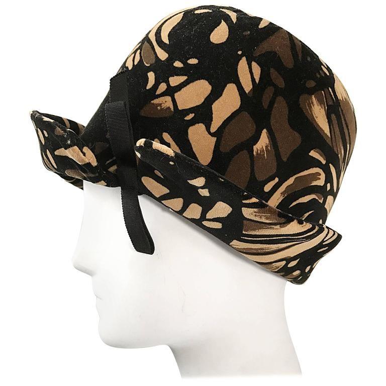 1960s Oleg Cassini 1920s Style Brown + Tan + Black 60s Mod Vintage Cloche Hat