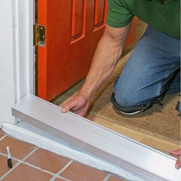 Step by front door repair replacing a sill and threshold front door pinterest front for How to install a threshold for an exterior door