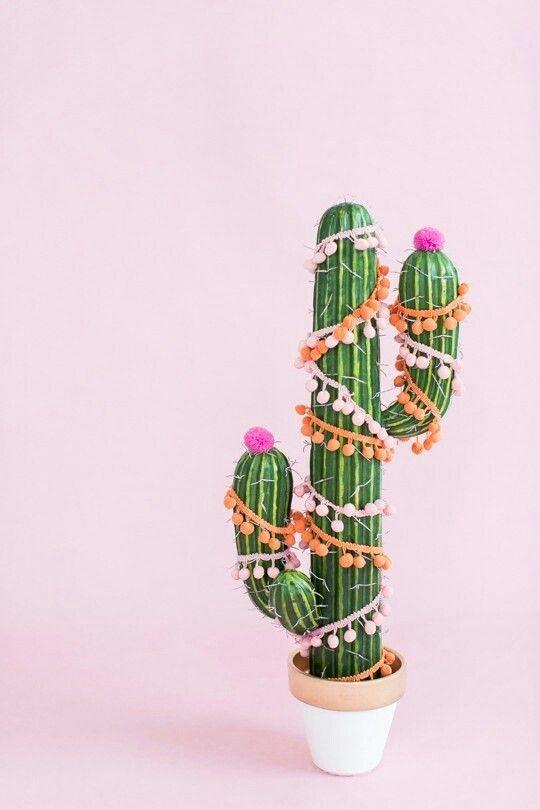 festive cactus! pompoms!