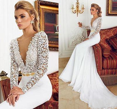 Vestido de novia Sexy Vestido de boda corte sirena Apliques de ...
