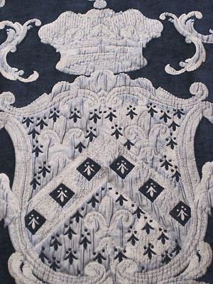Glorious large vintage French textile wall hanging featuring a fabulous coat of arms.  ***SOLD***