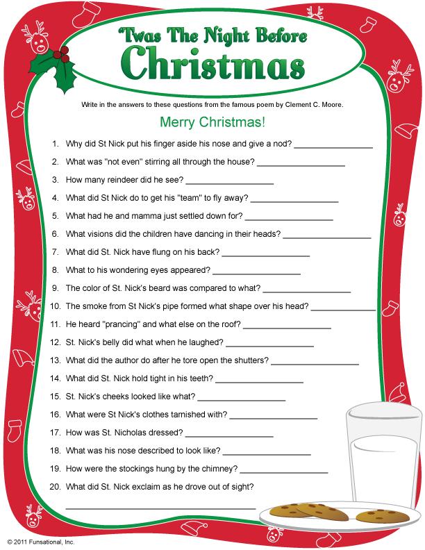Printable Twas The Night Before Christmas Christmas Charades Christmas Trivia Christmas Quiz