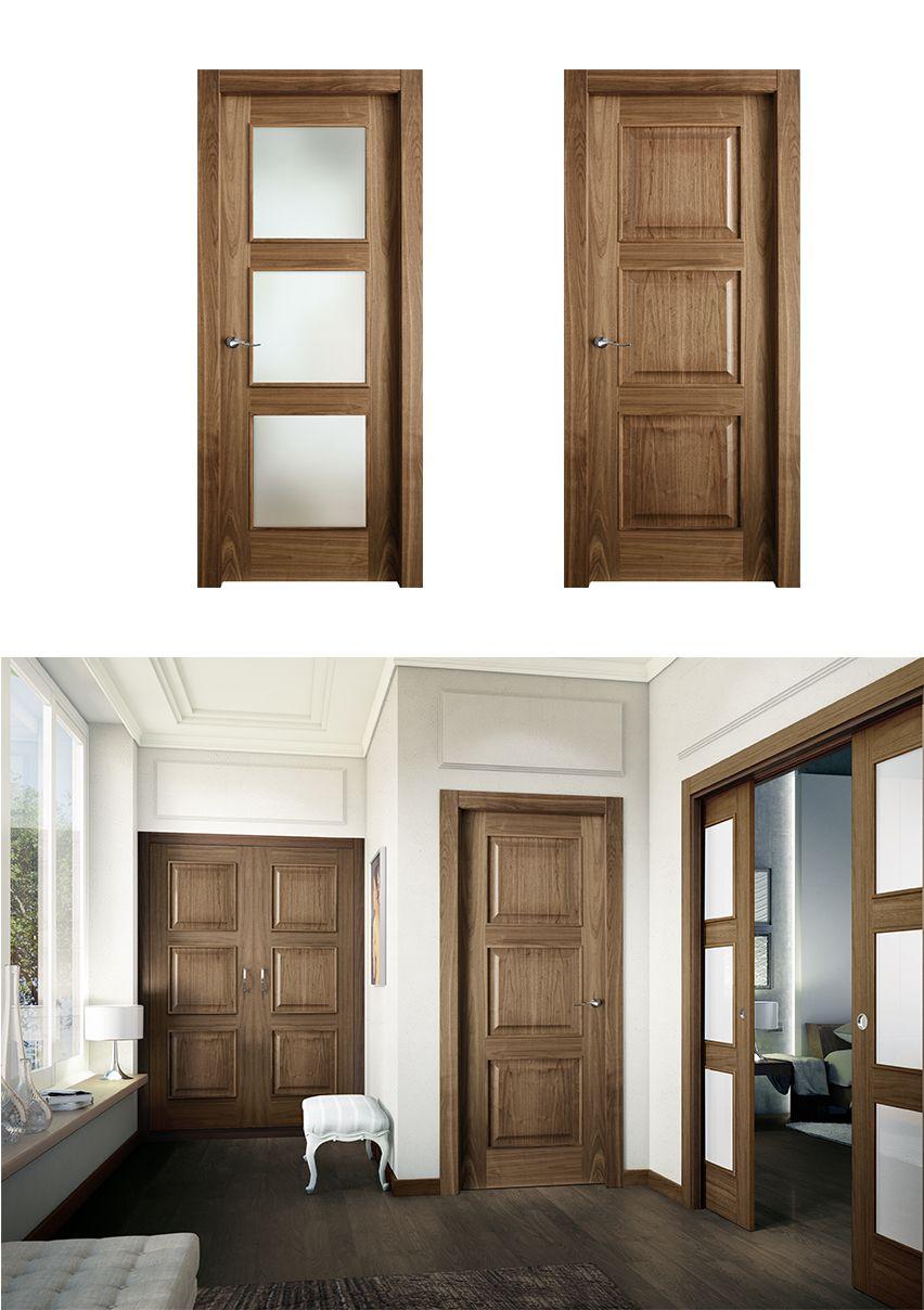 Puerta de interior oscura modelo arpa de la serie for Modelos puertas interiores