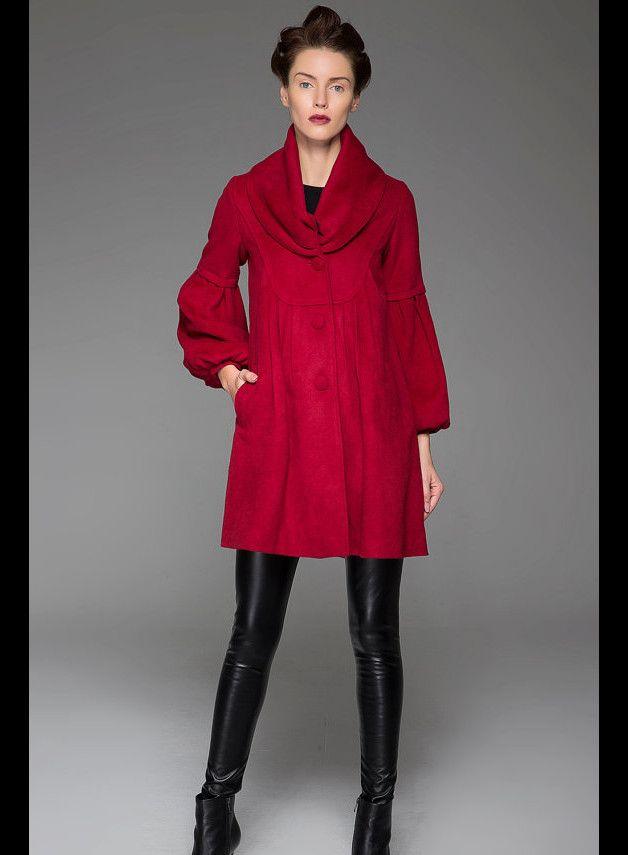 Warme Jacken - Große Kragen Wine Red Coat Warm Red Coat (1426) - ein Designerstück von yanhuayue bei DaWanda