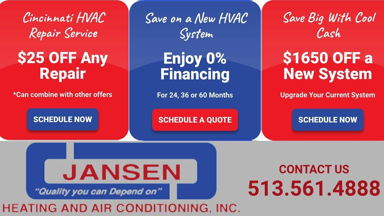 Jansen Heating Air Conditioning 513 561 4888 Best Hvac Repair Cincinnati Heating And Air Conditioning Hvac Repair Air Heating