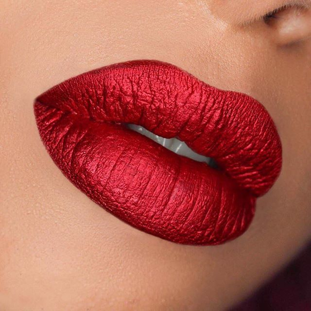 Red Hot Metallic Lipstick Metallic Cherry Red Metallic