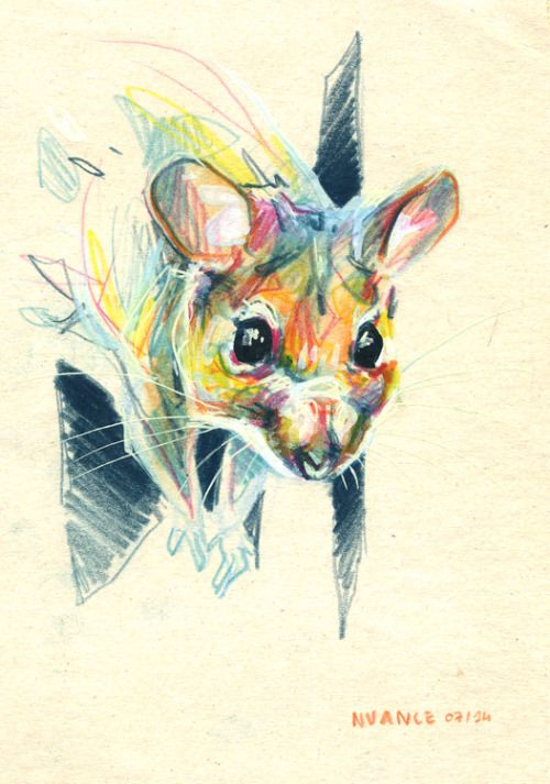 Watercolor pencils and paint markers on paperboard. #mouse #art By Nuance (http://nuancescurieuses.tumblr.com/)