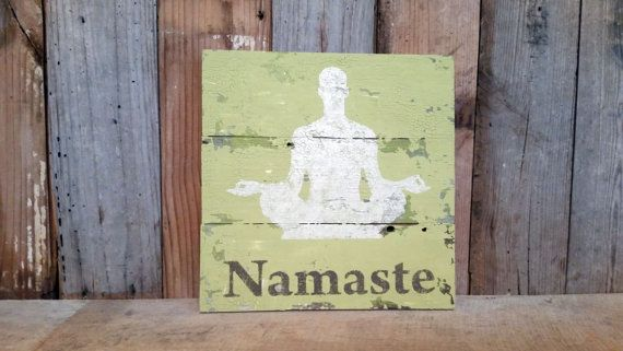 Namaste olive green wall hanging sign distressed yoga home decor gym ...