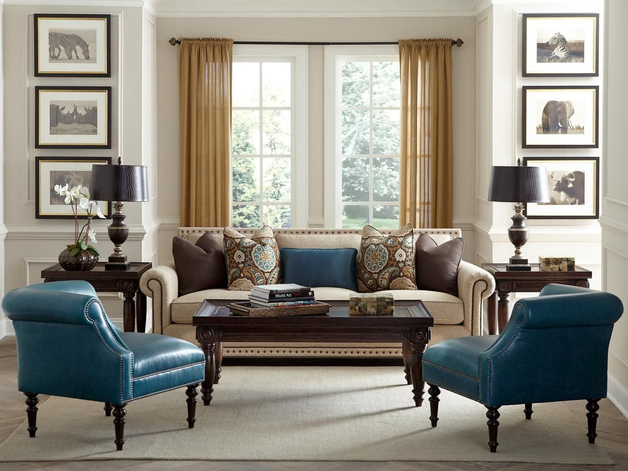 Transitional Living Room With Teal Corner Chairs Teal Living Rooms Brown Living Room Decor Transitional Living Rooms #teal #chairs #for #living #room