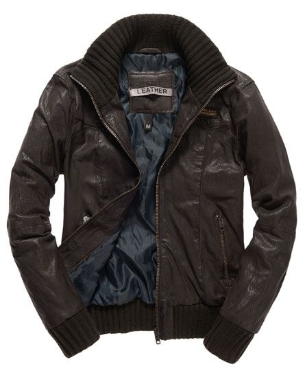 6997c48d9 Superdry men's Rickman bomber jacket. A classic bomber style leather ...