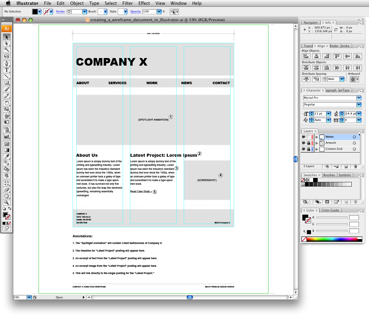 Wireframe: Creating A Website Wireframe In Illustrator