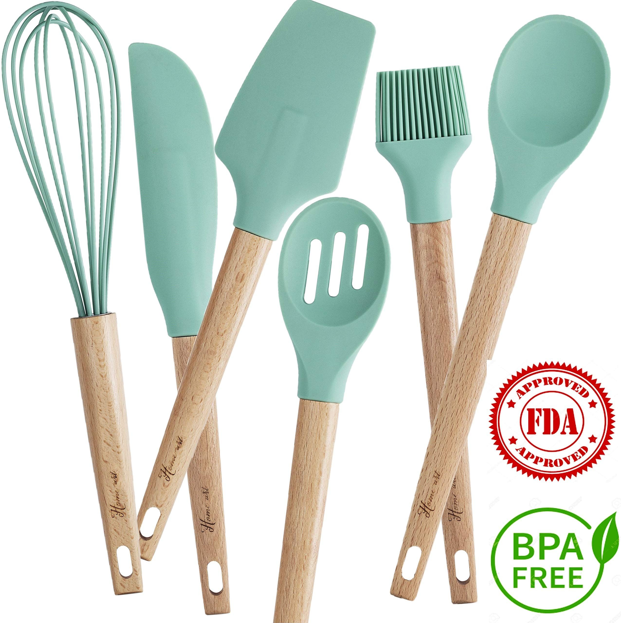 Home Art Baking Utensils Set Beech Wood And Silicone Bakeware