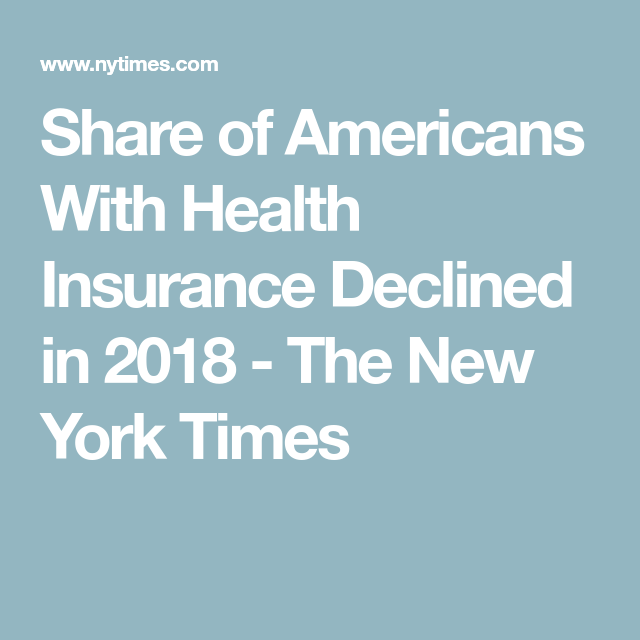 Share Of Americans With Health Insurance Declined In 2018 Health Insurance Health Insurance