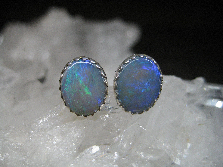 Opal Ohrringe Blau Opal Ohrstecker Sterlingsilber Solitär Ohrstecker