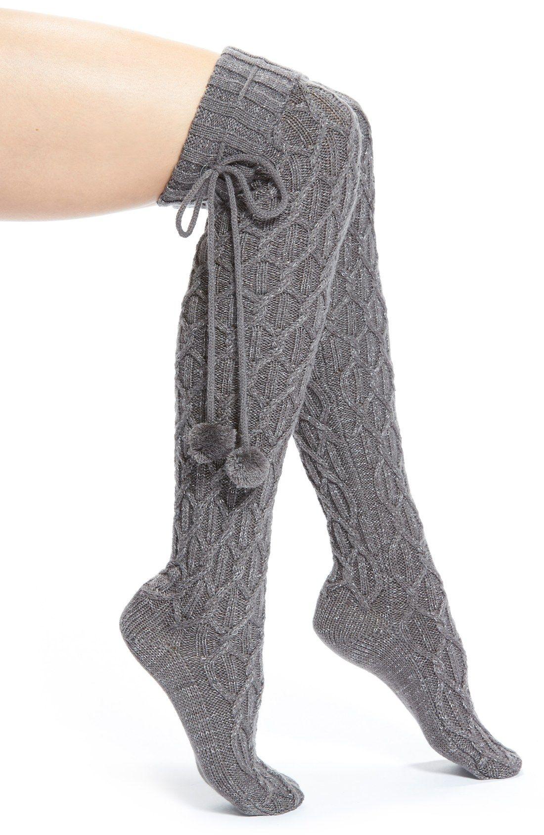 Ugg 174 Pompom Cable Knit Over The Knee Socks Fashion